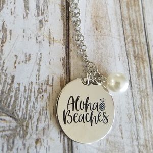 Aloha Beaches stamped necklace